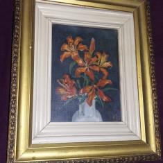 Tablou vechi superb pictat pe panza,pictura veche originala 35/28 cm,T.GRATUIT, Flori, Ulei, Realism