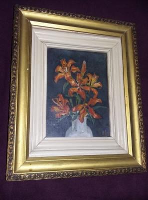 Tablou vechi superb pictat pe panza,pictura veche originala 35/28 cm,T.GRATUIT foto