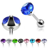 Barbell limbă oțel chirurgical - zircon lustruit - Culoare zirconiu piercing: Negru - K