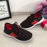 Adidasi negri rosii textil comozi tenisi sport fete baieti 25