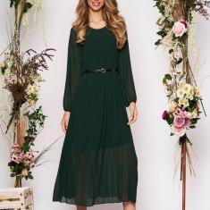 Rochie SunShine verde-inchis eleganta midi plisata cu croi larg din voal cu curea din imitatie de piele