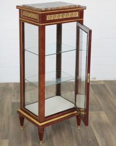 Vitrina deosebita din lemn mahon cu rafturi din sticla CAT-Vitrine124cm
