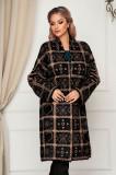 Cardigan SunShine maro elegant lung din lana cu croi larg