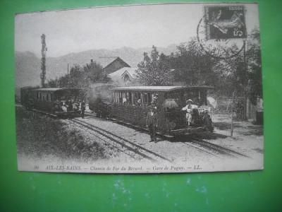HOPCT 36990 GARA PUGNY -TREN-AIX LES BAINS-SERIA FRANTA 1900-1905-NECIRCULATA foto
