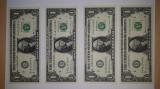 Set de 4 bancnote de 1$,serii consecutive