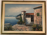 Tablou,pictura veche olandeza,ulei pe panza,peisaj marin, Marine, Altul
