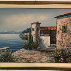 Tablou,pictura veche olandeza,ulei pe panza,peisaj marin