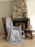 Cuvertura canapea din bumbac, Linen Gri / Alb, 170 x 220 cm