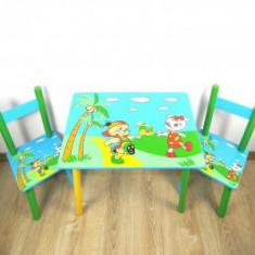 Masuta cu scaunele lemn Prietenii Haiosi