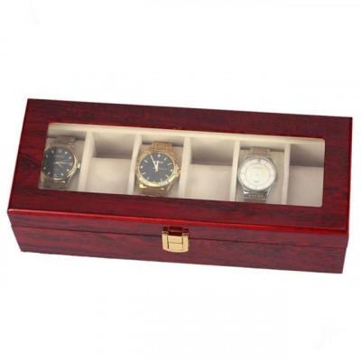 Cutie caseta din lemn pentru depozitare si organizare 6 ceasuri, model Premium foto