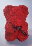 Ursulet floral decorat manual cu trandafiri de spuma Rosu 25cm