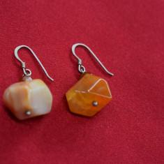 Cercei Argint cu pietre galben - oranj - 8,6 grame