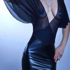 Lenjerie Lady Lust Sexy Piele PU Rochie Scurta Vinil Club Clear Bust