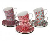 Set de 6 căni de ceai cu farfurie
