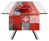 Traversa de masa Mandala Red 45x140 cm - Excelsa, Gri & Argintiu
