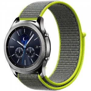 Curea ceas Smartwatch Samsung Gear S3, iUni 22 mm Soft Nylon Sport, Gray-Electric Green