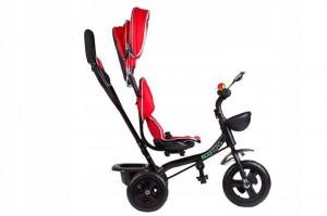 Tricicleta cu scaun rotativ, maner parental, copertina, roti din cauciuc, suport picioare pliabil, culoare rosu