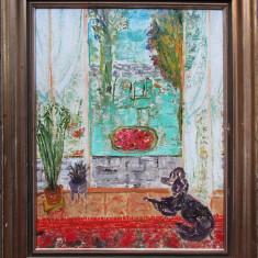 Interior cu caine - semnat  Pallady, Natura statica, Ulei, Altul