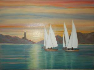 Tablou Peisaj marin cu barci, ulei pe panza, 34x44 cm, cu rama noua din lemn
