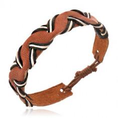 Brăţară din piele maro - model vălurit, şnururi albe şi negre