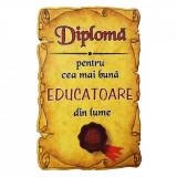 Magnet Diploma pentru Cea mai buna EDUCATOARE din lume, lemn, Alexer