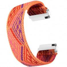 Curea textila elastica, compatibila Samsung Galaxy Watch3 40mm, telescoape Quick Release, Oriental Model