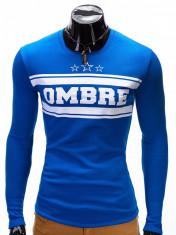 Bluza pentru barbati, albastru, cu logo in piept slim fit - B335 foto