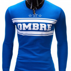 Bluza pentru barbati, albastru, cu logo in piept slim fit - B335