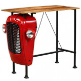 Cumpara ieftin Masă bar, stil tractor, lemn masiv mango, roșu, 60x120x107 cm