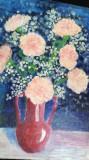 Cumpara ieftin Tablou vechi Vaza cu flori, ulei pe placaj gros 26x36 cm, Realism
