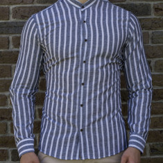 Camasa tunica dungi gri  - camasa tunica camasa barbat camasa slim #195, L, S, XL, XXL, Maneca lunga, Din imagine