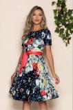 Cumpara ieftin Rochie Jaqueline bleumarin cu imprimeu floral rosu si cordon in talie