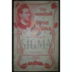 DIN COMPOZITIUNILE LUI CIPRIAN PORUMBESCU, CORURI BARBATESTI - PARTITURI, LEIPZIG 1911