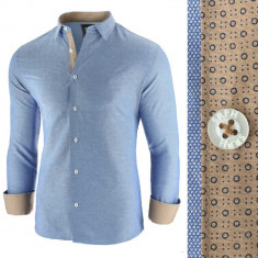 Camasa pentru barbati bleu slim fit casual oxford Business Class Extra