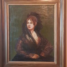 Tablou vechi pictura ulei pe panza portret rama lemn