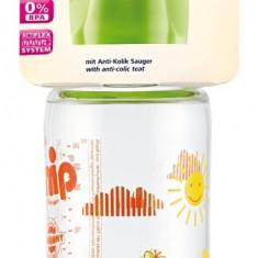 Biberon sticla cu gat larg, 240 ml, tetina silicon pt lapte, nr 1