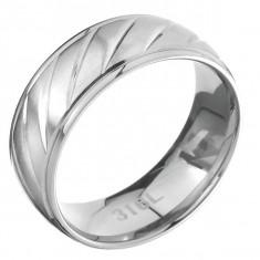 Inel din oțel cu margine lucioasă și mijlocul mat zimțat - Marime inel: 67