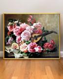Tablou cu Flori de Trandafiri si cobza, Tablou floral, pictura cu flori 60x45cm, Ulei, Realism