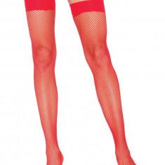 Ciorapi Tip Plasa Cu Banda Elastica, Rosu - Marime Universala