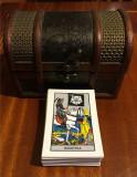 Set complet de 78 CĂRȚI DE TAROT în română, în CASETĂ SUPERBĂ de LEMN și ALAMĂ!