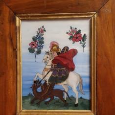 Veche icoana pe sticla, Sfantu Gheroghe omorand balaurul