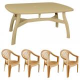 Set gradina King masa 80x125 cm cu 4 scaune Carnaval culoare bej B0010381 Raki