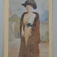 Femeie cu palarie veche acuarela