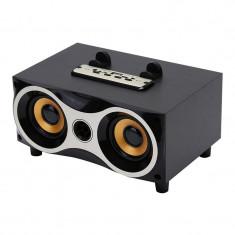 Boxa portabila wireless cu suport telefon, si microfon incorporat, negru, Gonga