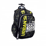 Ghiozdan troller scoala, model skateboard urban, 33x18x49 cm