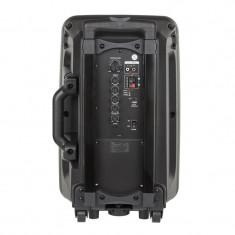 Pachet Boxa / Sistem audio portabil cu bluetooth, functie karaoke, USB, 10 inch, 2 microfoane wireless, Negru cu Ventilator de birou, alimentare USB