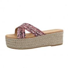 Papuci sic, cu imprimeu sarpe si platforma, 36 - 40, Fuchsia