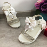 Cumpara ieftin Sandale albe elegante cu fundita strasuri pt fete 25 26 28 31 32 33 34 35 36, 30