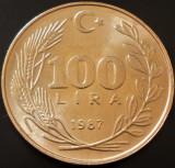 Moneda 100 LIRE TURCESTI - TURCIA, anul 1987  *cod  = A.UNC, Europa