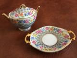 set miniatura portelan fin farfurie si caseta Porcelain Art / Limoges France !